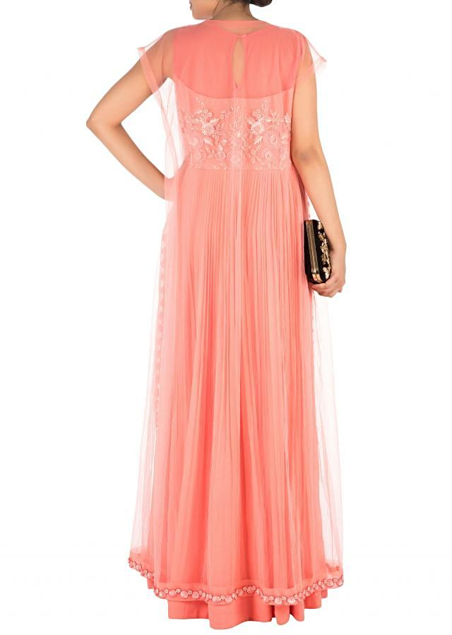 Hand Embroidered Coral Mirco Pleated Flare Gown With Jacket