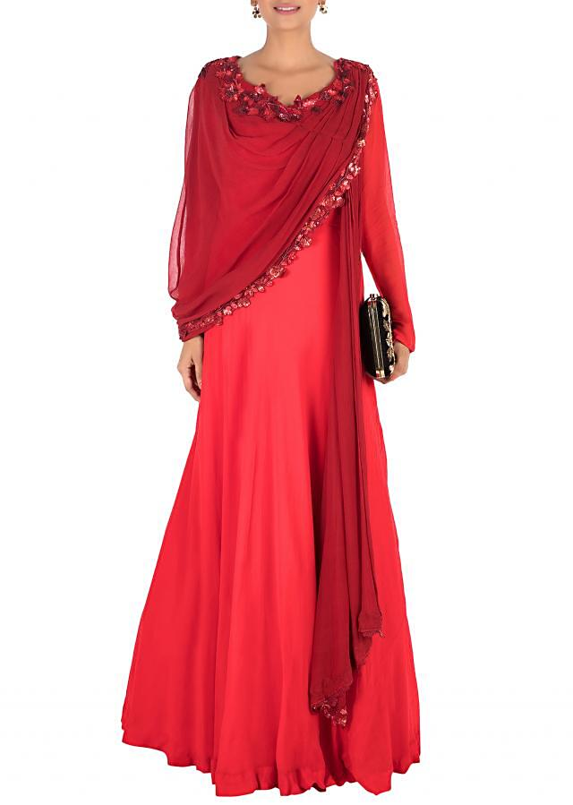 Hand Embroidered Crimson Red Flare Gown With Attahed Dupatta