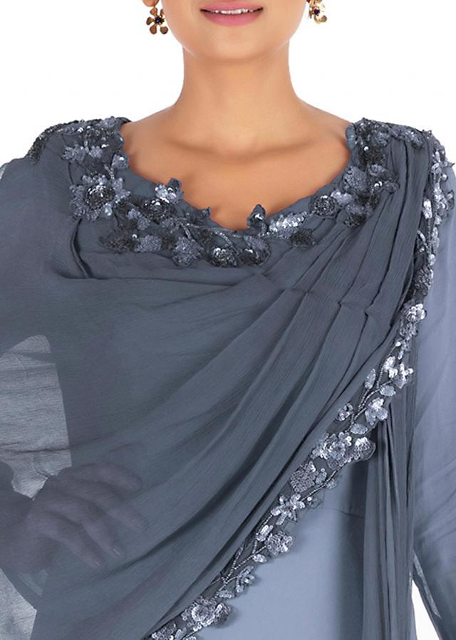 Hand Embroidered Grey Gown With Attahed Dupatta