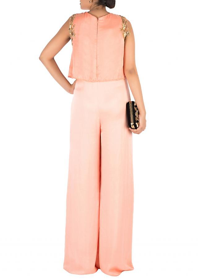 Hand Embroidered Peach Jumpsuit With Attach Jacket