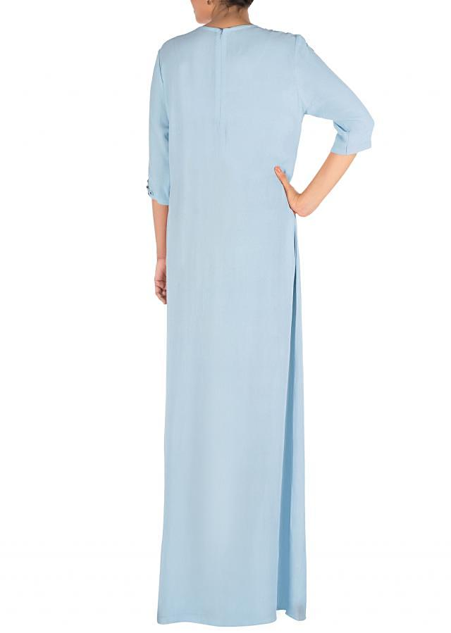 Hand Embroidered Powder Blue Long Tunic With Front Slits