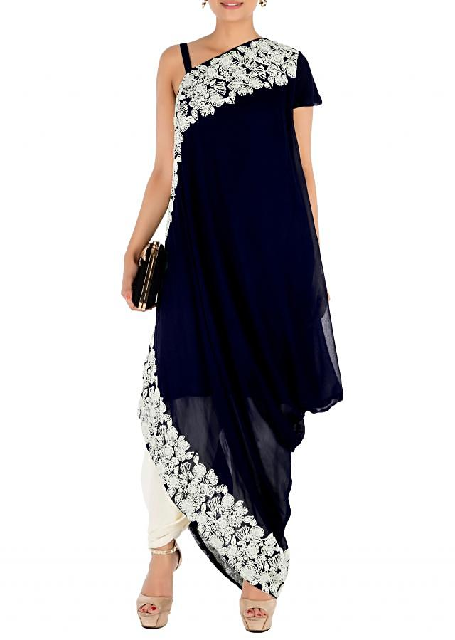 Hand Embroidered Prussian Blue Drape Kurti With Dhoti Pant.