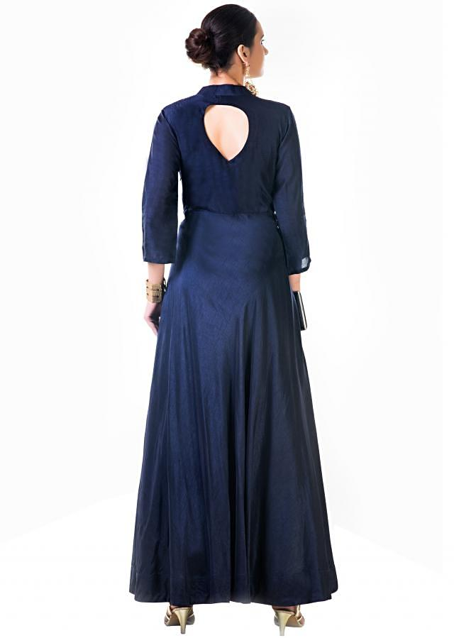 Hand Embroidered Sequins Navy Blue Silk Panel Dress