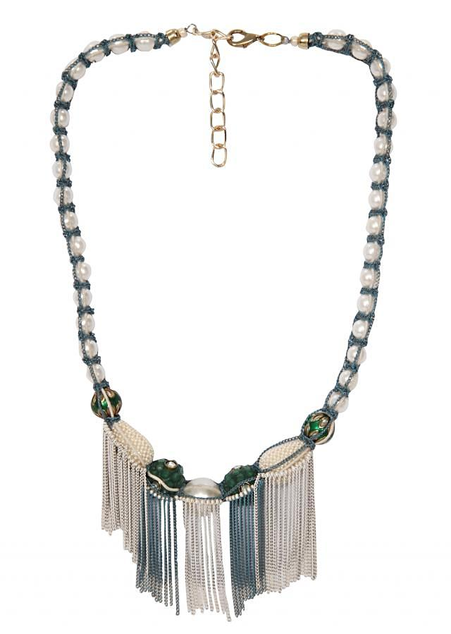Handmade Necklace with Glass Pearls Traditional Beads and Metal Chains only on Kalki