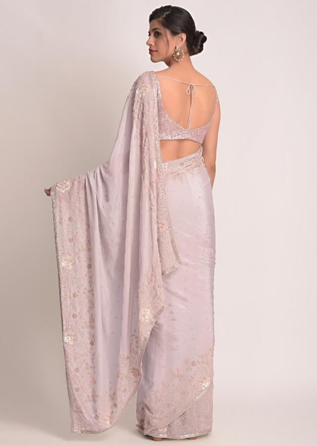 Harbor Grey Saree In Shimmer Chiffon With Floral Embroidery Online - Kalki Fashion