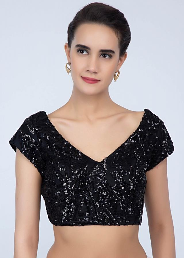 Hard net black blouse in sequins embroidery only on Kalki