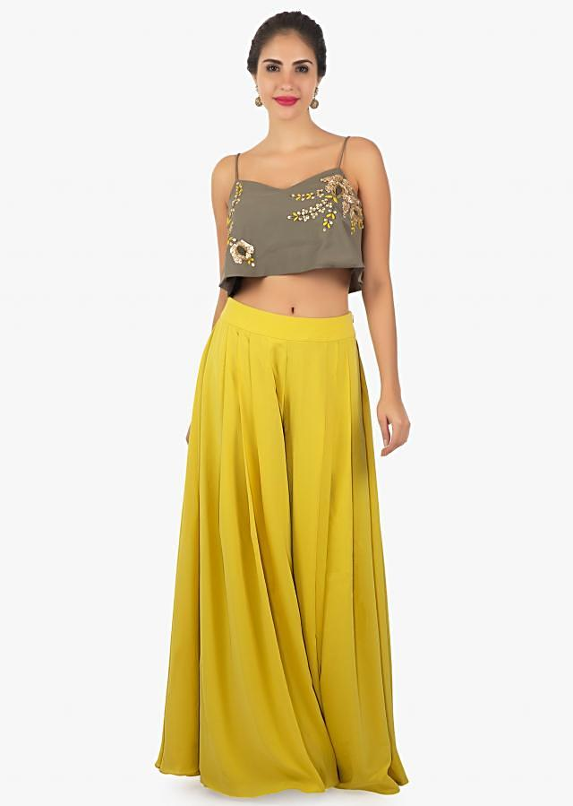 Hazel nut crop top with a macaroon yellow palazzo only on kalki