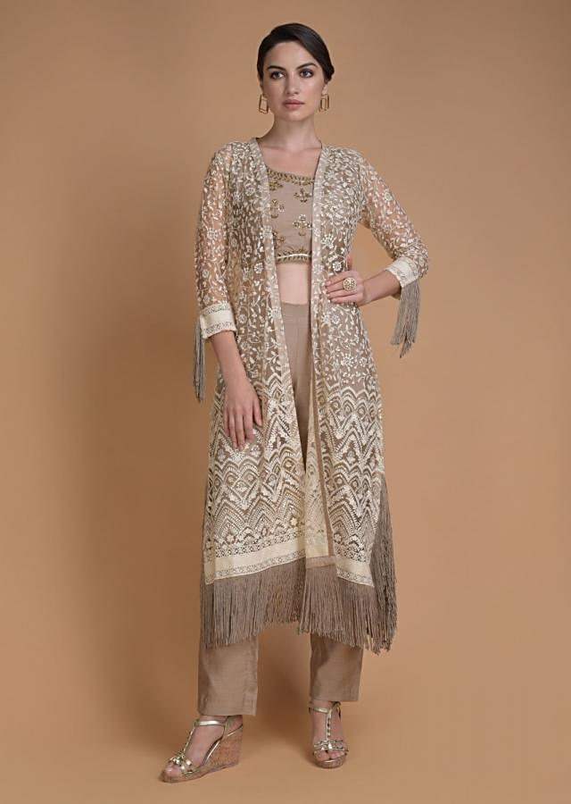 Hazelwood Beige Crop Top And Pants With Matching Embroidered Jacket Online - Kalki Fashion