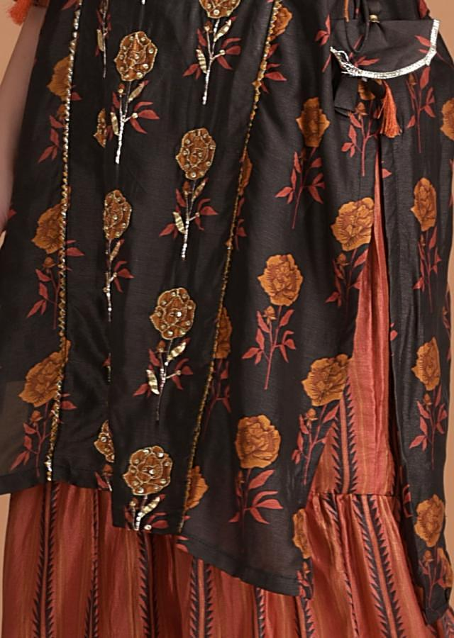 Henna Green Kurti With Floral Print And Embroidery And Orange Sharara Bottoms Online - Kalki Fashion