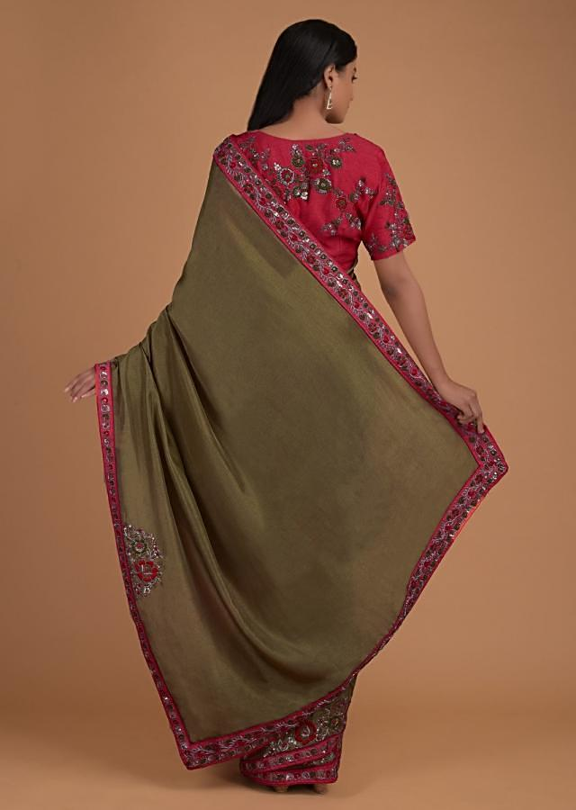 Henna Green Saree In Cotton Silk And Coral Blouse With Floral Embroidery Online - Kalki Fashion