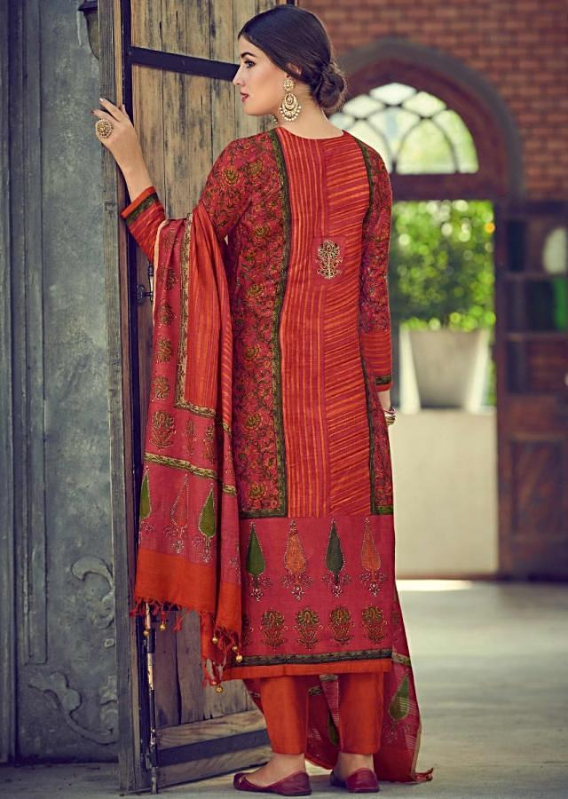 Hibiscus Red Suit In Tussar Silk With Block Print In Floral Pattern Online - Kalki Fashions