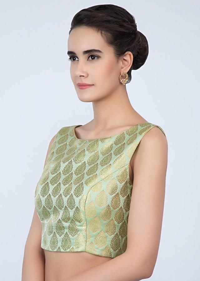 High neck apple green brocade blouse only on Kalki