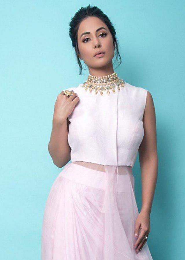 Hina Khan In Kalki Indowestern Powder Pink Skirt And Top With Pearls Embroidery
