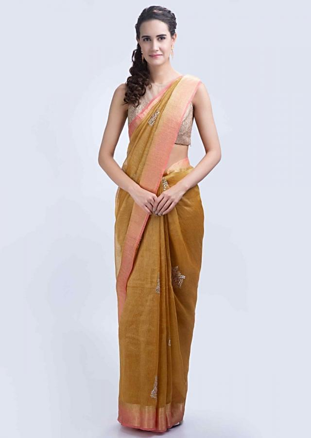 Honey gold linen saree with gotta embroidered butti only on Kalki