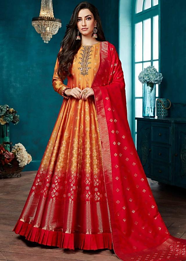 Honey Yellow And Coral Red Ombre Anarkali Suit In Silk With Weaved Floral And Geometric Buttis Online - Kalki Fashion