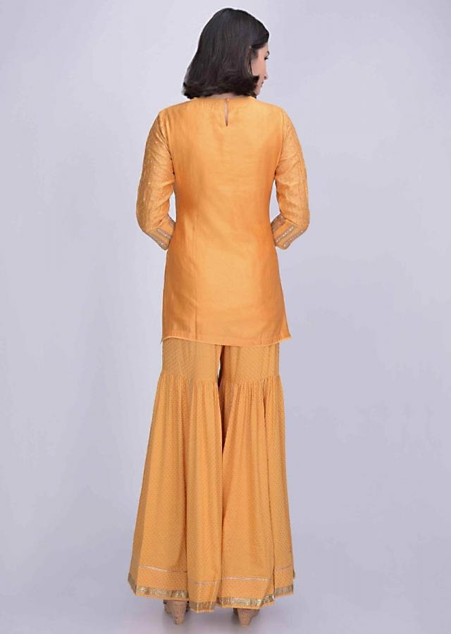 Honey Yellow Sharara Suit In Cotton Silk With Gotta Patch Embroidery Online - Kalki Fashion
