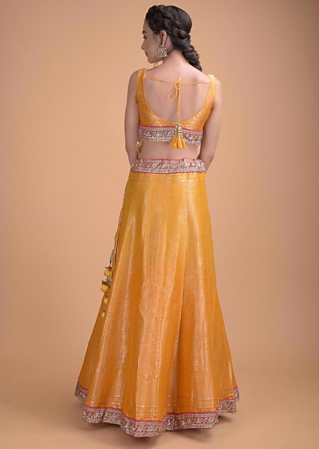 Honey Yellow Lehenga Choli In Brocade Silk With Weaved Floral Pattern All Over Online - Kalki Fashion (Motifs May Vary)
