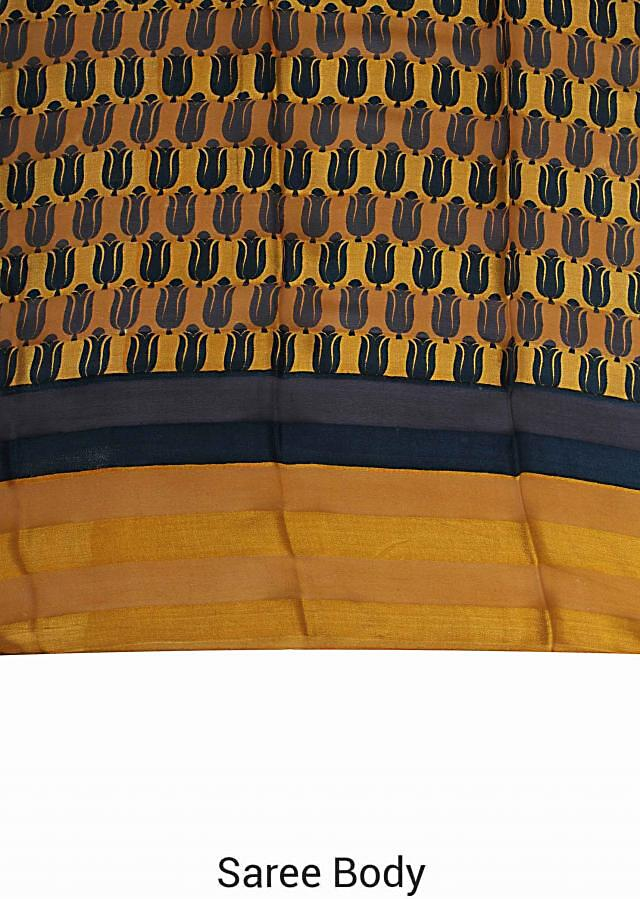 Honey mustard printed saree with contrast border only on Kalki