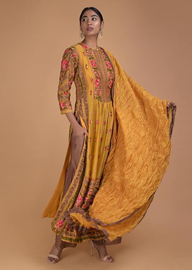 Honey Yellow Straight Cut Suit With Multi Color Thread Embroidery In Floral Pattern Online - Kalki Fashion