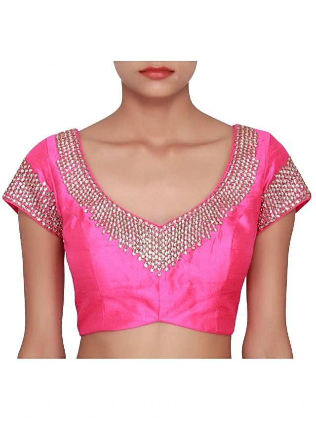 Fuschia blouse in raw silk embellished in stone only on Kalki