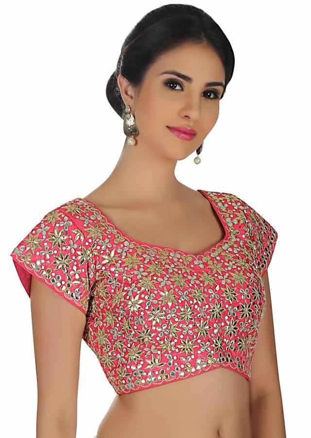 Hot pink blouse in raw silk with gotta patti patch work only on Kalki