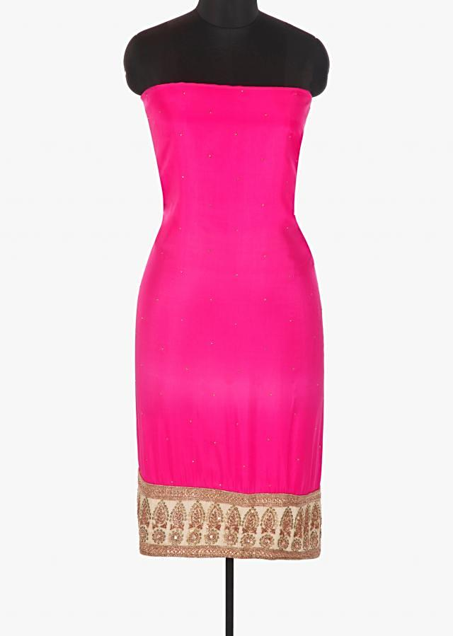 Hot pink crepe satin unstitched suit with a raw silk hem only on Kalki