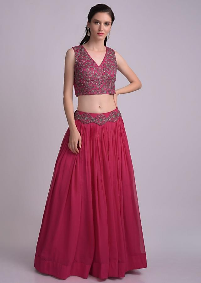 Hot Pink Crop Top And Skirt With Cut Dana Embellished Floral Pattern And Flared Jacket  Online - Kalki Fashion