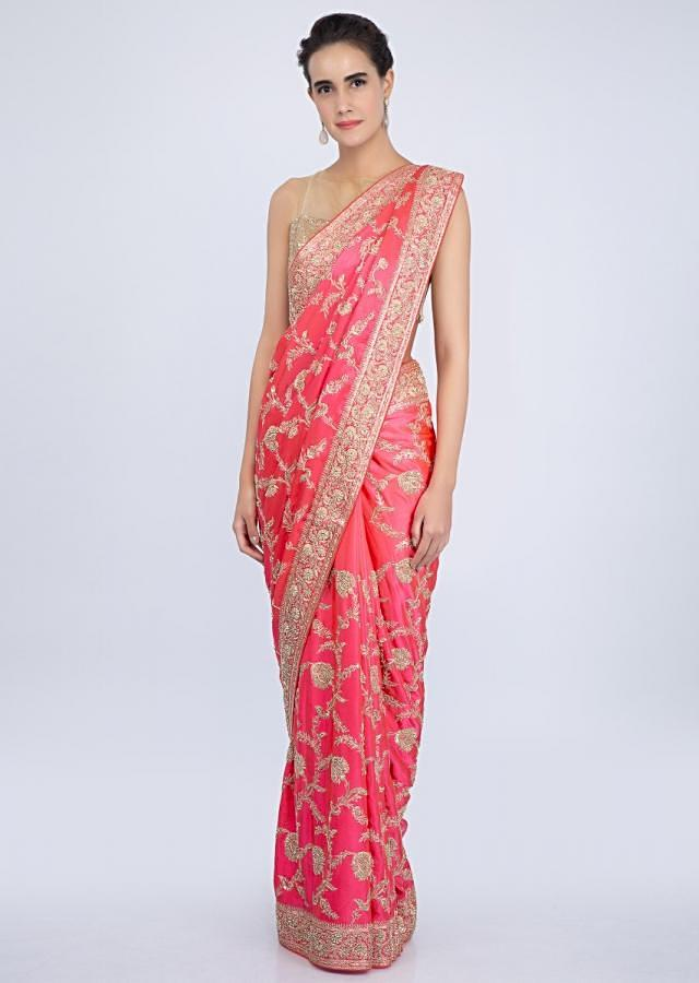 Hot Pink Satin Saree In Heavy Floral Jaal Embroidery Online - Kalki Fashion