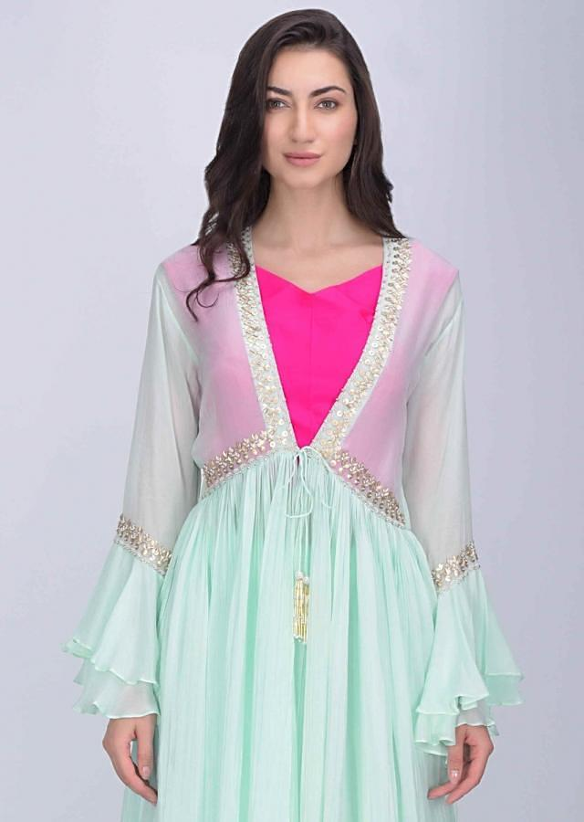 Hot Pink Crop Top In Silk With Mint Blue Crepe Skirt And Jacket Online - Kalki Fashion