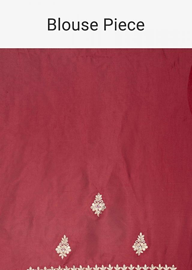 Hot red dupion silk saree with gotta embroidery and butti only on Kalki