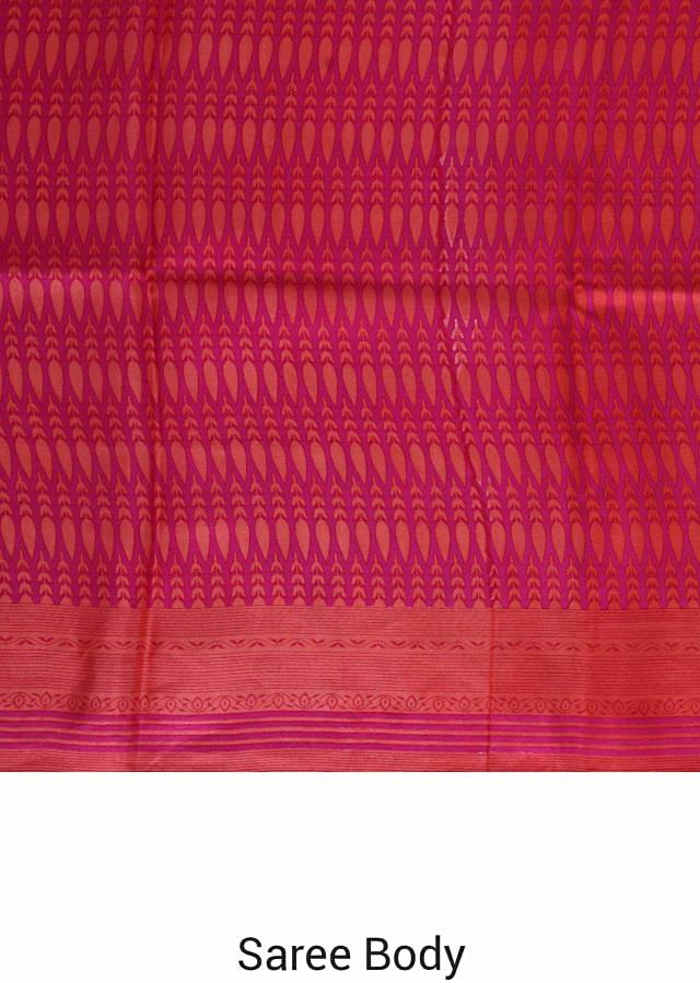 Hot pink satin georgette saree in self stripe print only on Kalki