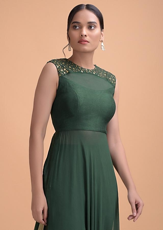 Hunter Green Long Kurti And Cigarette Pants With 3D Floral Embroidery Online - Kalki Fashion