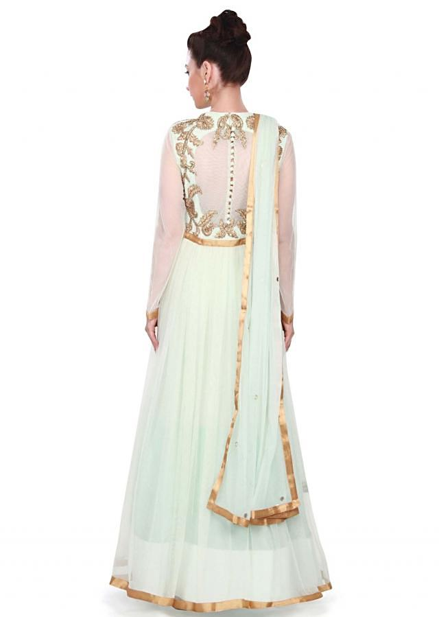 Ice blue suit adorn in applique and zari only on Kalki