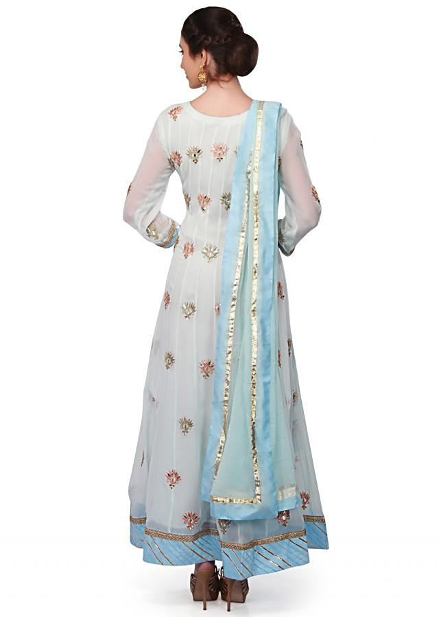 Ice blue anarkali suit in georgette with gotta patch embroidery only on Kalki