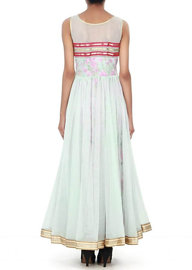 Ice blue anarkali suit with printed lining. only on Kalki
