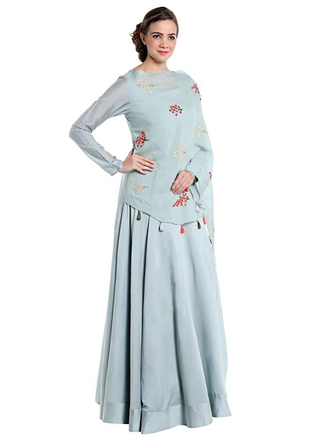 Ice blue cotton silk lehenga with french knot embroidered butti only on Kalki