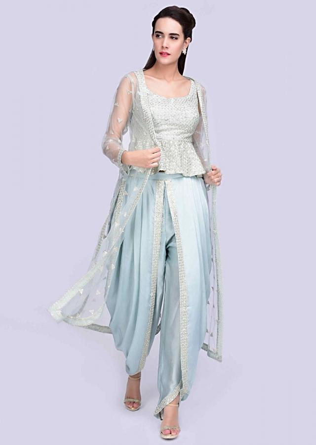 Ice Blue Peplum Top With Embroidery Work And Matching Dhoti And Long Net Jacket Online - Kalki Fashion
