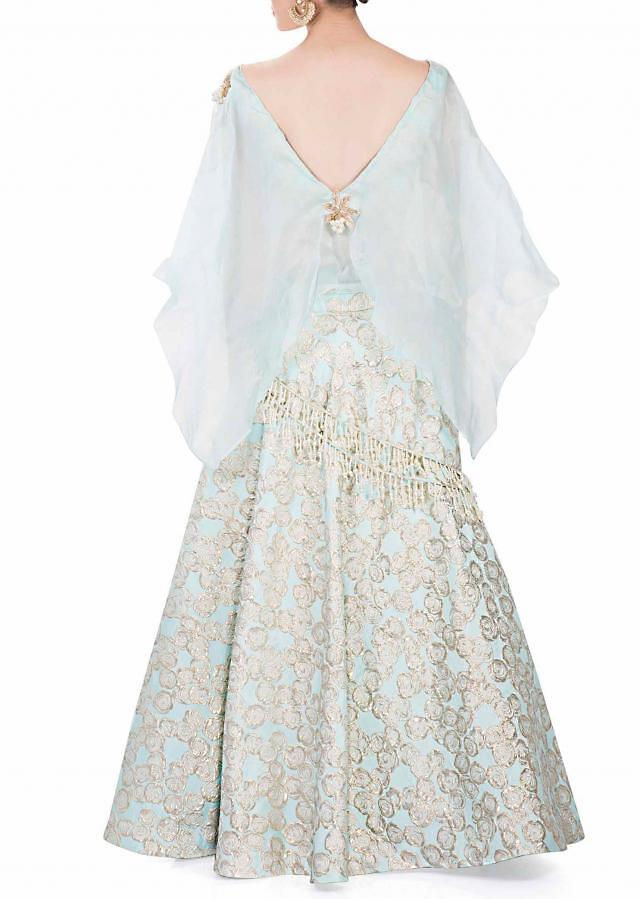 Ice Blue Jacquard Lehenga and Blouse with Organza Cape with Pearl Embellishments only on Kalki