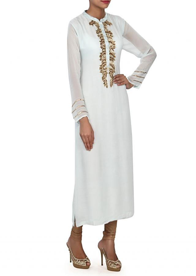 Ice blue kurti with embellished placket in sequin only on Kalki
