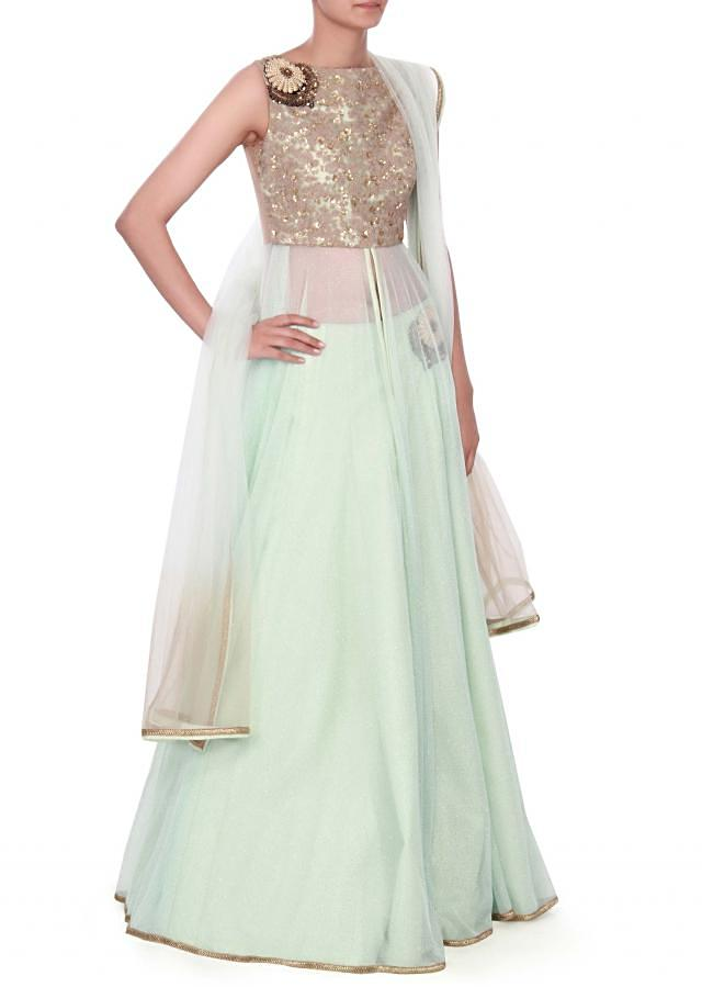 ice blue lehenga in thread embroidery only on kalki