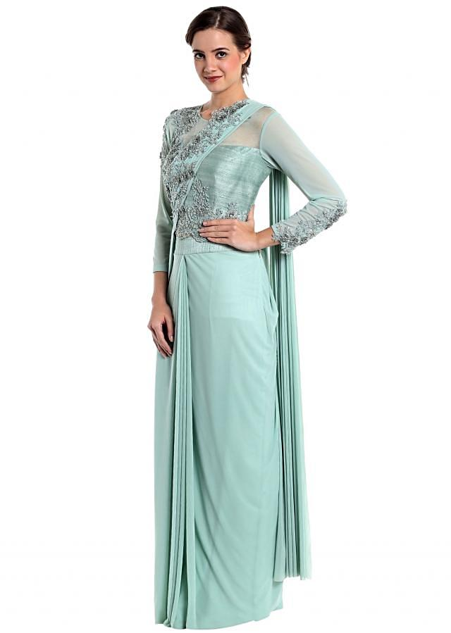 Ice blue lycra net pre-stitched saree with fancy blouse only on Kalki