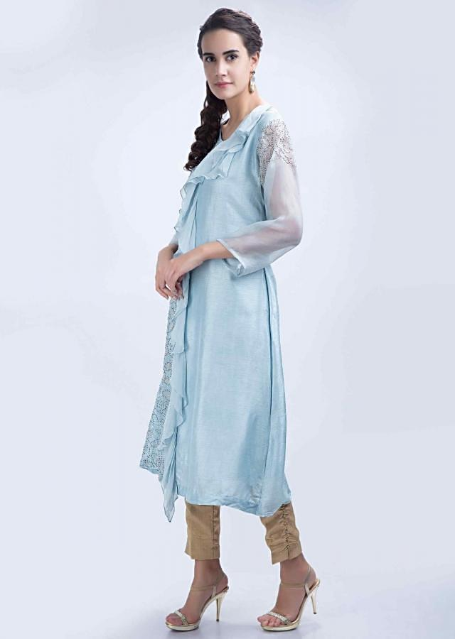 Ice Blue Kurti In Raw Silk With Chiffon Frill Layer At The Center Online - Kalki Fashion