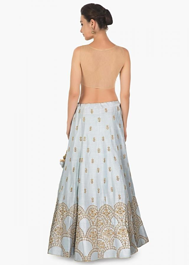 Ice blue raw silk lehenga with exquisite zardosi and moti embroidery only on kalki
