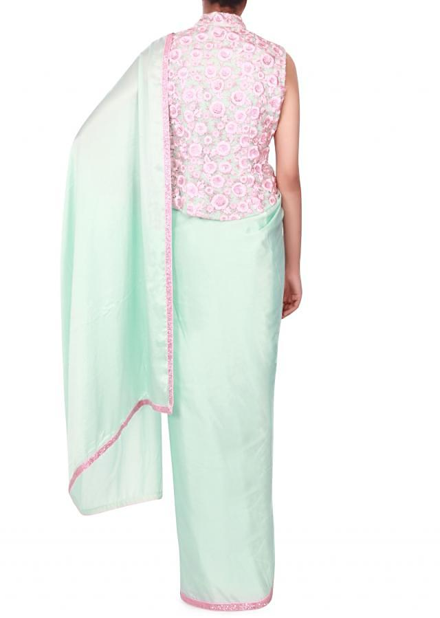ice blue saree with resham embroidered blush pink blouse only on kalki