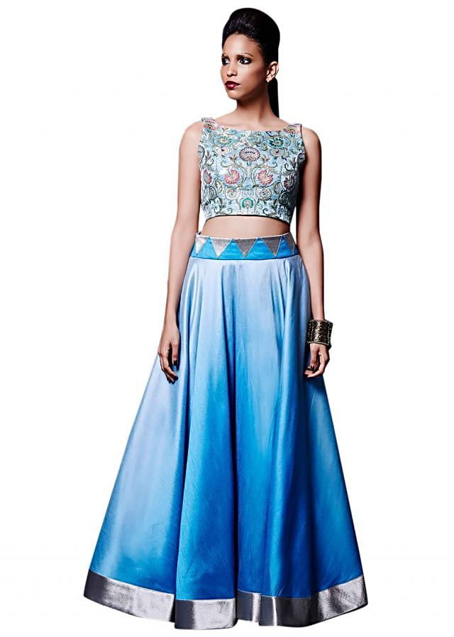 Ice blue skirt matched with crop top only on Kalki