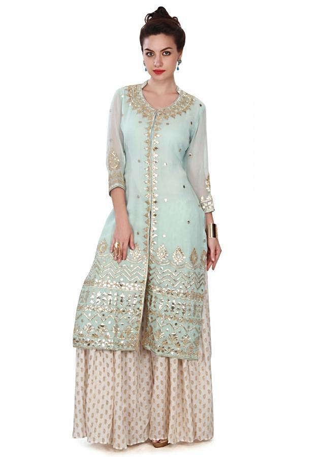 Ice Blue Suit Adorned In Gotta Patch Work Online - Kalki Fashion