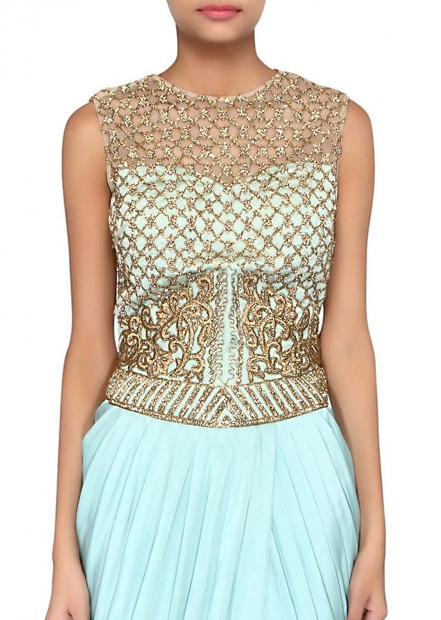 Ice blue suit featuring in embroidery along with cowl drape only on Kalki