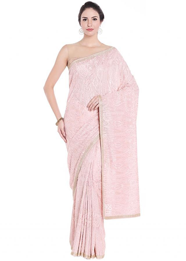 Ice pink georgette saree in resham and kundan embroidery only on Kalki