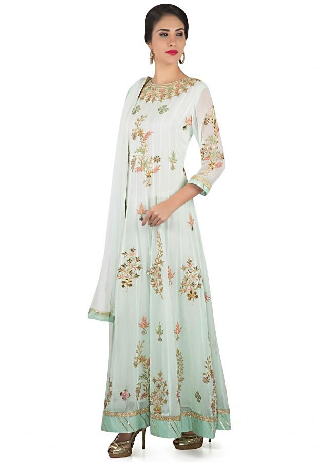 Ice blue anarkali suit in gotta patch and resham work only on Kalki