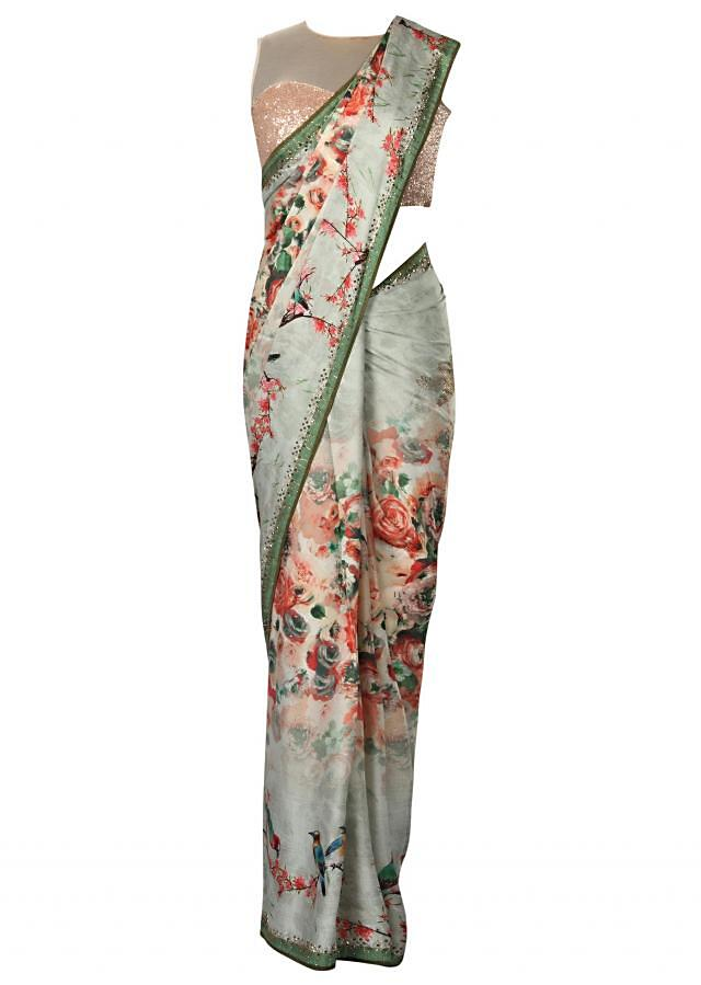 Ice blue georgette saree in floral and bird motif only on Kalki